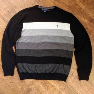 Mens Black White Grey Pullover Long Sleeve Sweater